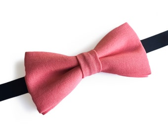 "Solid Pink Pre Tied Bow Tie ""Bergson"", Best Handmade Gift for Men, Weddings, Birthday, Valentines Day"