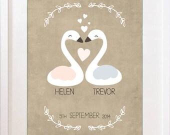 Love Swan Personalised Print