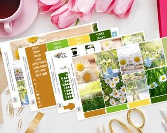 Spring Daisy Weekly Planner Sticker Kit for Erin Condren Vertical Life Planner, Happy Planner, Filofax, TN, Wildlife, Floral, Summer