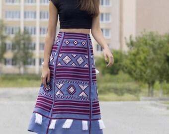 Women embroidered skirt vyshyvanka blouse. Ukrainian vyshyvanka set, Folk traditional clothes, geometric pattern. Midi women skirt