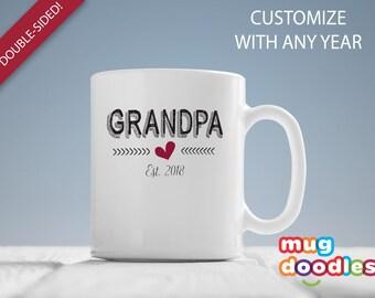 Grandpa Est 2018, Grandpa Pregnancy Reveal, Gift for New Grandpa , Grandpa Coffee Mug, Grandpa Mug, Gift for Grandpa , Pregnancy Reveal, 163