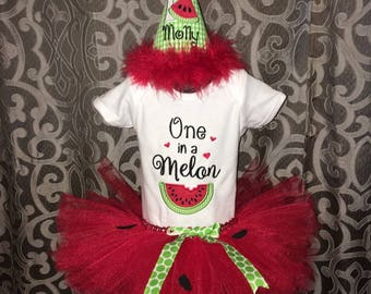 One in a Melon appliqued bodysuit, suit and birthday hat