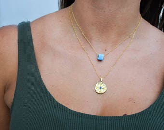 Gold Christian Disc Necklace, Gold Cross Necklace, Christian Cross Necklace, Gold Disc Necklace, Blue Bead Necklace, Women's Necklaces.