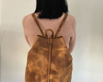 Leather Backpack Women, Office Bag, Leather Purse, Leather Rucksack, Backpack Purse, Work Bag, Made from Full Grain Leather in Greece.