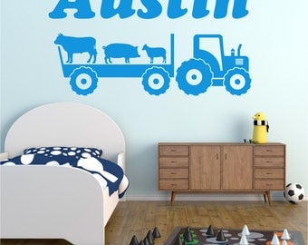 Tractor / Trailer and ANY NAME Personalised Boys Girls Childrens Bedroom Playroom Vinyl Wall Art Sticker Decal Transfer *20 colours""