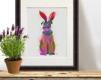 Bunny rabbit - Rabbit full print  Rabbit nursery Rabbit art Rabbit poster Bunny nursery decor Rabbit wall art Rabbit illustration Hare print