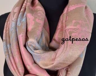 Pashmina Snood, infinity Scarf, loop scarf, circle scarf, Paisley Pashmina Shawl, infinity pashmina, beige brown pink pashmina scarf