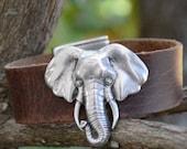 ELEPHANT BRACELET, LEATHER Cuff, Leather Bracelet, Good luck bracelet, Silver Elephant, Bold Cuff, Nature Bracelet, Boho Style