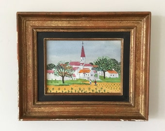 French village landscape painting, naive style, vintage country home decor