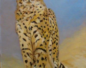 Cheetah portrait, Original Oil Painting by Anne Zamo