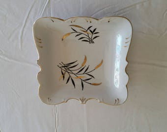 "antique fine china 8"" square bowl / dish w/ gold trim and wheat - scalloped edges porcelain plate tray vintage kitchen serving bread pan"