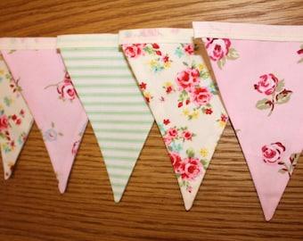 Pink floral bunting, pink floral banner, floral bunting, floral banner, shabby chic bunting, shabby chic decor, pink nursery