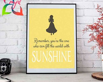 Snow White // Disney Prints // 5 Sizes Available // Sunshine // Nursery // Fairy Tales // Custom Wall Art // Inspiring Quotes