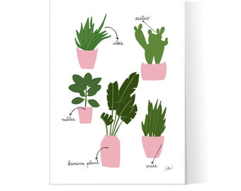 Indoor Plants Illustration / Botanical Poster / Home Decor Print / Home Garden Art / Printable Poster / Instant Download / 2JPEG Files