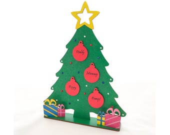 Family Christmas Tree, personalised Christmas tree, freestanding decoration, gift for grandparents, Christmas decoration,
