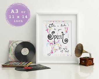 A3 Boho Art Print, Fleetwood Mac Print, Song Lyrics Print, Girly Print, Typography Print, Inspirational Print, Boho Wall Art, Wall Decor