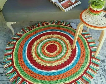 Boho Crocheted Floor Rug