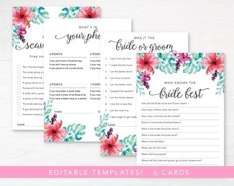 Tropical Bachelorette Party Games / Bachelorette Party Editable Game / Instant download Printable Game /Bridal Shower Game / Hens Party Game