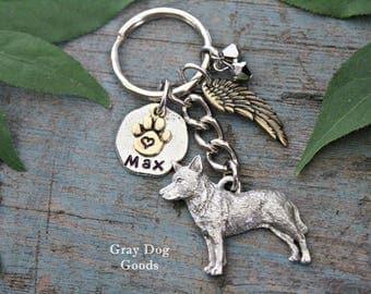 Blue Heeler Memorial KeyChain, Pet Memorial Key Chain, Heeler KeyChain, Blue Heeler Sympathy Gift, Read Full Listing Details