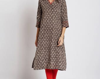 Hand block dabu printed ethnic long Indian kurta with contrast trims and orange hand embroidery on V neck and sleeves