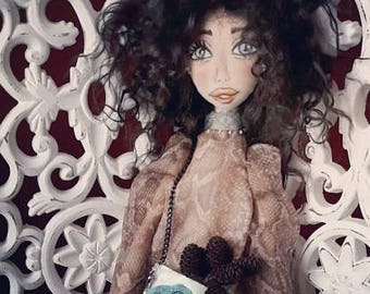 Amanda 48 cm textile fabric rag collectible soft art doll