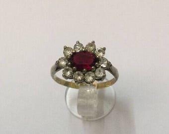 9ct Gold, Silver & Garnet Ring - Hallmarked - Size 7 (UK N)
