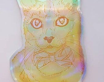 Rainbow Galaxy Die-Cut Holographic Cat Stickers
