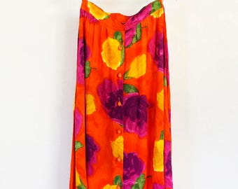 90s brightly colored floral button down flowy maxi skirt, size medium