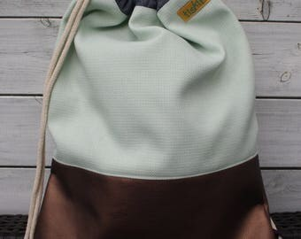Backpack in mint with copper Gmy Sac