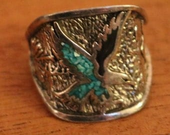 New Black and Turquoise Eagle Band Ring Sz 7.5