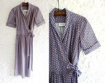 "1970s Laura Ashley vintage ""Made in Wales"" dress/ 1970s wrap dress / 70s bohemian dress"