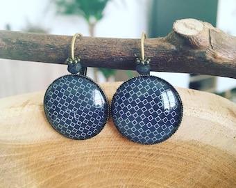 """Geometric diamond"" Cabochon earrings"