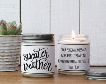 Sweater Weather Candle Gift - Soy Candle Greeting | Holiday Candle Gift | Christmas Gift | Send Holiday Gift | Holiday Scented Candle