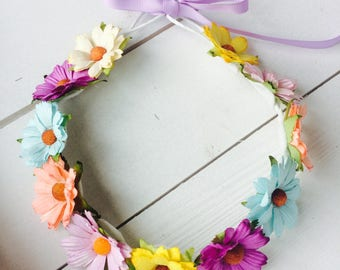 Paper Floral crown | Floral crown | Floral halo | Rainbow floral crown | Summer headband | Chrysanthemums floral crown