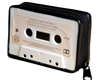 Music cassette upcycled purse, FREE SHIPPING, music lover gift, retro cassette  wallet, father gift, gift for mother, Hippie boho gift