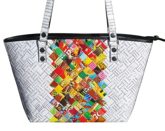 Tote handbag made from candy wrapper - FREE SHIPPING - gift gifts for mom girlfriend grandmother wrappers sweets gum kit kat milky way mars