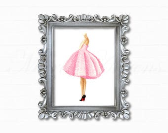 Pink Dress Print, Fashion Illustration, Watercolor Print, Fashion Print, Art Print, Home Decor, Office Decor, Gifts for Her, 8x10