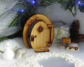 """Fiesta Polo Norte hadas puerta - Kit de arte 3D de madera con poste indicador """"Polo Norte"""", """"Bienvenida de los elfos"""" felpudo y clave mágica de madera"""