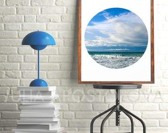 Oceanscape, Seascape Stormy, Cloud Wall Art, Coastal Decor, Waves, Ocean Printable, Digital Print, Sky, Relax Wall Art, Clouds, Water Print