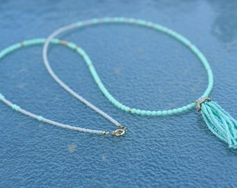 Subtle Mint and Pink long Necklace