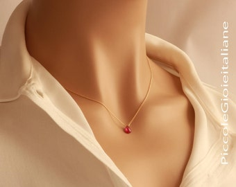 Necklace Ruby Natural Necklace Gold filled 14k necklace Minimalist necklace handcraft necklace gemstone Necklace Red Ruby