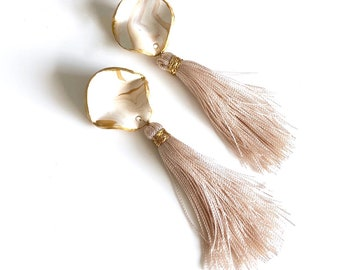 Long Tassel Earrings, Polymer Clay Earrings, Neutral Colour Earrings, Fringe Earrings.