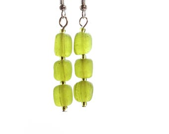 Earrings with green rustic glass beads
