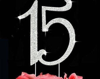 15 Cake Topper, Number Topper, Quinceañera Birthday Topper, 15th Birthday Topper, Quinceañera Party Decor, Anniversary Cake Topper