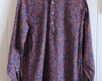 90's, paisley, patterned, long sleeved dress shirt
