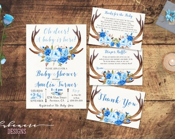 Oh Deer Baby Shower Invitation Rustic Tribal Deer Antlers Boy Baby Shower Invite Blue Floral Baby Shower Invite - CS035
