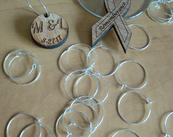 Wine Charm Ring Holders Silver Plated 25mm Size Various Quantities