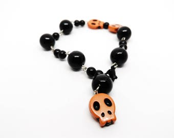 Calavera Rosary bracelet - skull Mexican - sugar skull - dia los muertos - day of the dead