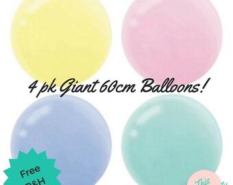 Pastel Giant Round Balloons 60cm Pk 4 - Unicorn Birthday Party Balloons