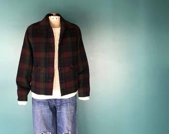 Vintage Plaid Jacket. Rockabilly Jacket. Wool Plaid Jacket. Plaid Vintage Jacket. Retro Plaid Jacket. Plaid Bomber Jacket. Plaid Coat